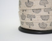 Linen/cotton fabric tape, oak tree, hand stamped, black archival ink, washable, 1 metre