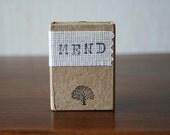 Sewing kit, travel, oak tree, kraft matchbox, hand stamped, black archival ink