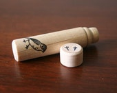 Needle case, small, wooden, bird, hand stamped, black archival ink