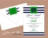 preppy monogram - social invitations - printed invites & envelopes
