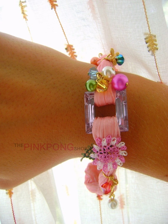 Silk Bracelets From Heaven - Pink Ocean- Hand Dyed Pure Silk with Swarovski