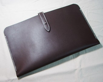 Leathinity - Hand Stitched DARK-BROWN Leather Sleeve for 11'' MacBook Air