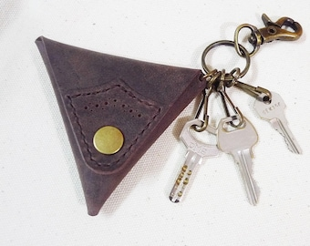 Leathinity -  Triangle Shaped Vintage Dying Dark Brown Leather Coin Case w/ Keychain