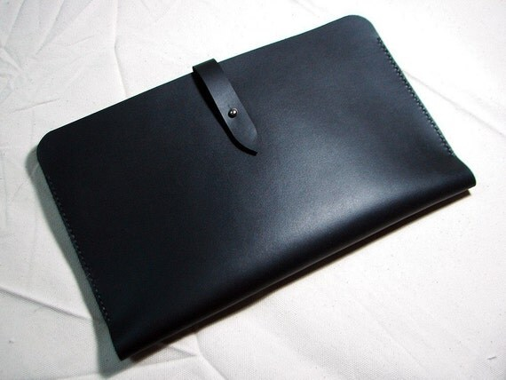 "Leathinity - Hand Stitched Black Leather Sleeve for 13"" MacBook Air"