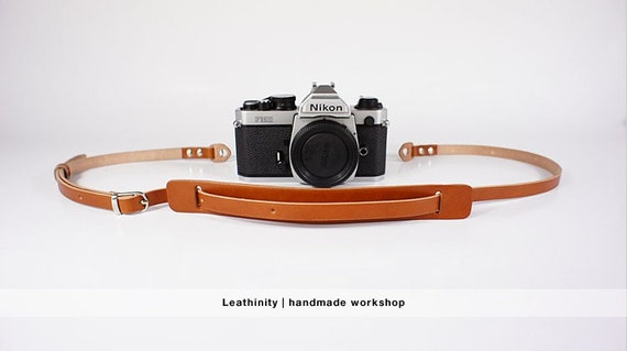Leathinity - Tan Leather Neck Camera Strap (Adjustable Length)