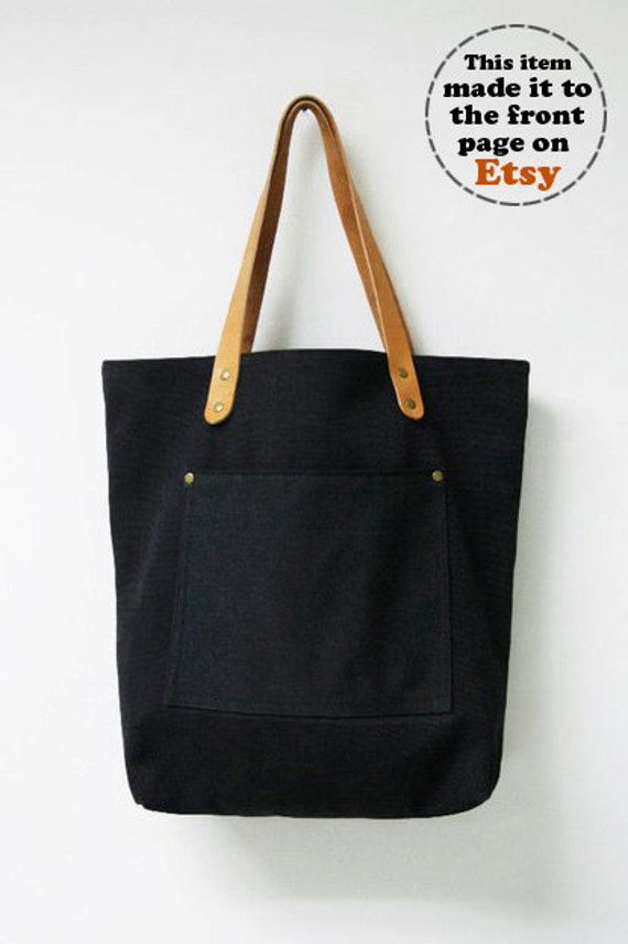 Items similar to Leathinity - Black Canvas Tote Bag w/ Genuine ...