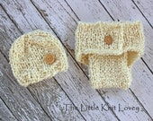 Little Knit Button Hat and Diaper Cover Set for Baby Choose Your Colors