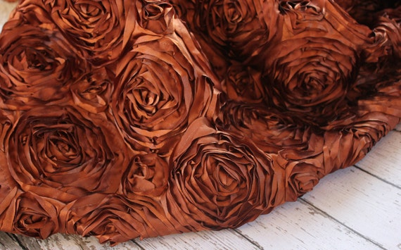 Beautiful Raised Rose Fabric in Rich Brown, Photography Prop for Baby