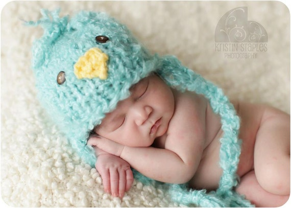 Little Fluffy  Knit Baby Chick Hat, Adorable Photography Prop for Spring