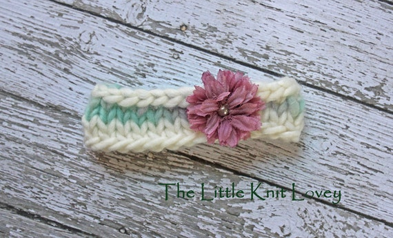 OOAK Hand Spun Merino Wool Knit Headband for Baby, Ready to Ship