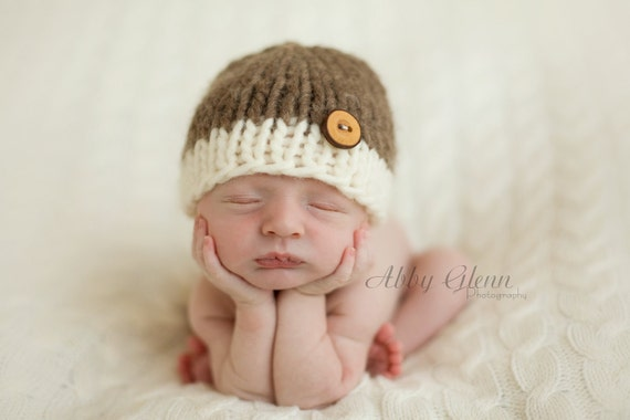 Little Knit Two Tone Beanie for Baby in Cream and Bark, Adorable Photography Prop and Ready to Ship
