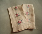 REDUCED Off White Linen Hand Towels Guest Towels Embroidered Roses