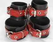 Brick Red and Black Leather Cuffs