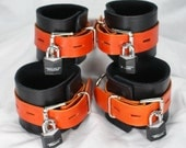 Orange and Black Leather Cuffs