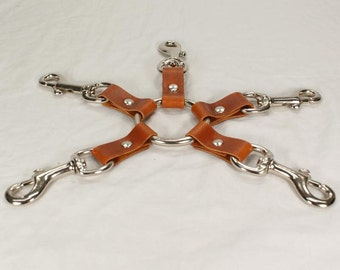 Tan Leather 5 Way Hog Tie