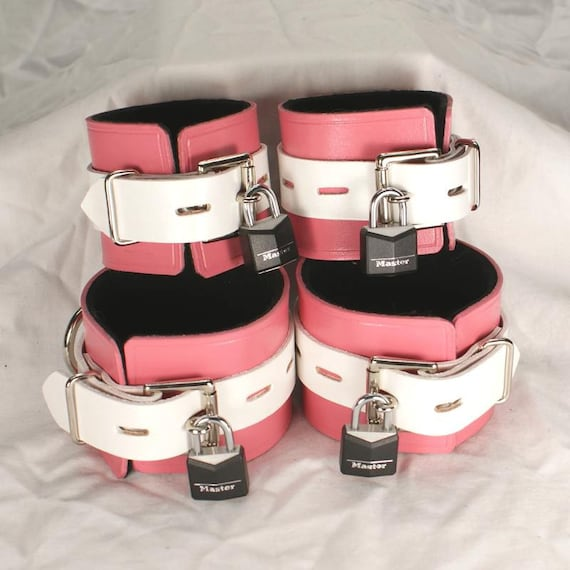 Pink and White Leather Cuffs