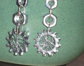 Industrial Spider Web and Hex Nut Earrings Handmade by HardwareHoney Jewelry