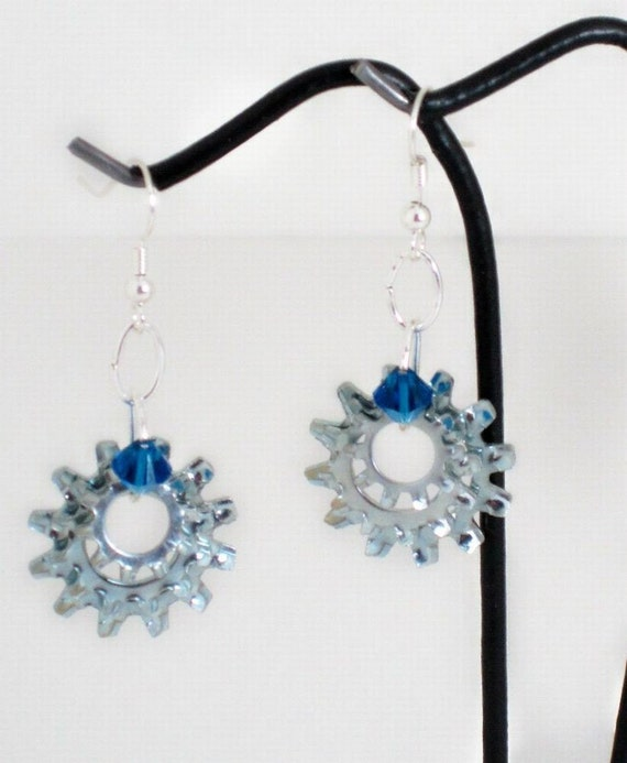 Steampunk Hardware Earrings With Royal Blue Swarovski Crystals Handmade By HardwareHoney Jewelry
