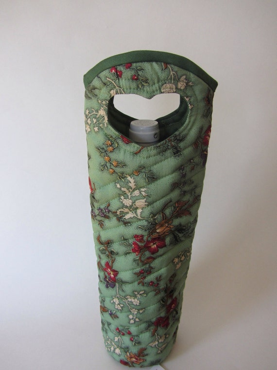 Wine Bottle Gift Tote Bag Green with Beautiful Red Flowers