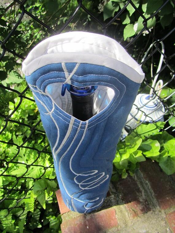 Wine Tote Bag Wine Bag Wine Gift Blue Swirl Bottle Carrier Gift Bag Reuseable Wine Bag