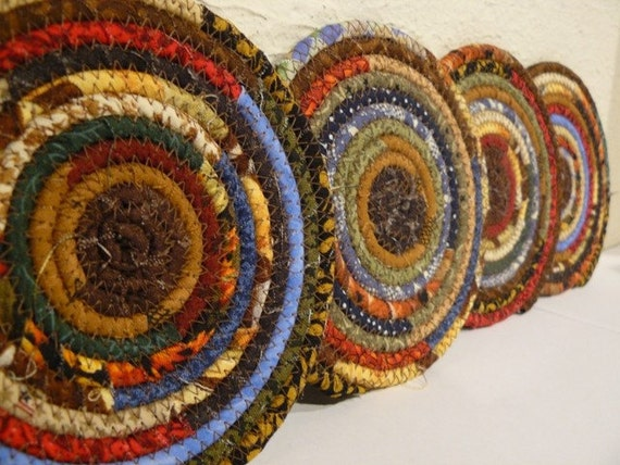 Scrappy Fabric Coiled Coasters... Set of 4