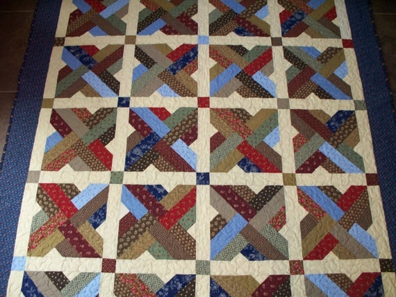 FREE SHIPPING til Sept. 30th   Paddle Wheel Quilt in Civil War Reproduction Fabrics