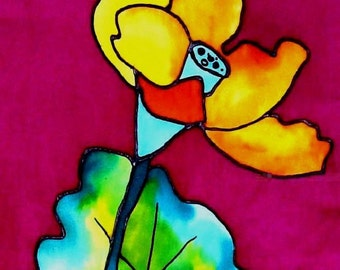 lotus flower silk painting