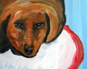Biscuit Eater the Dachshund Sleepy Girl Original Painting Acrylic