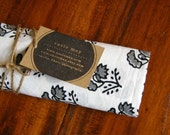 block printed swaddling blanket, black & white, large