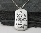 Love Letter Pendant..Your Own Words and Handwriting ..Made to Order