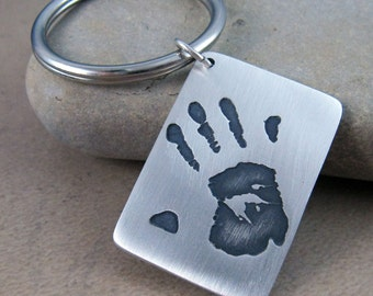 Child's handprint on a Fine Silver Key Chain...Featured in June/July Issue of Southern Child Magazine