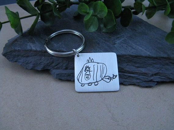 Personalized Keychain Your Childs Artwork...Daddy's Little Princess