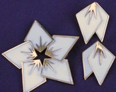 Crown Trifari White Enamel Brooch and Earrings