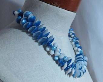 Vintage Blue Acrylic Shell Necklace Set 1960s NEW OLD STOCK