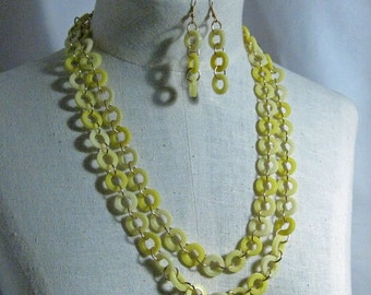 Vintage Yellow Necklace of Circles Set 1960's New Old Stock