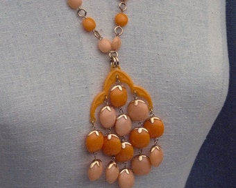 Vintage Oranges Large Vibrant Pendant Necklace 1960's NEW OLD STOCK...csc66