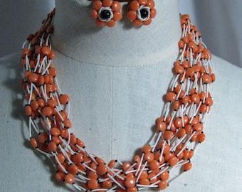 Vintage  18 Strands of Orange Elegance Necklace Set 1960's NEW OLD STOCK