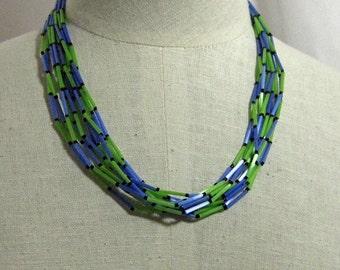 Thin Glass Bead Blue and Green Necklace  1960s NEW OLD STOCK...csc170