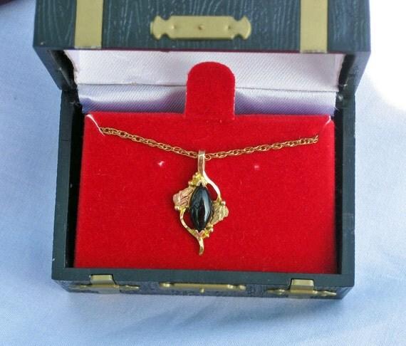 Black Hills Gold and Onyx Pendant