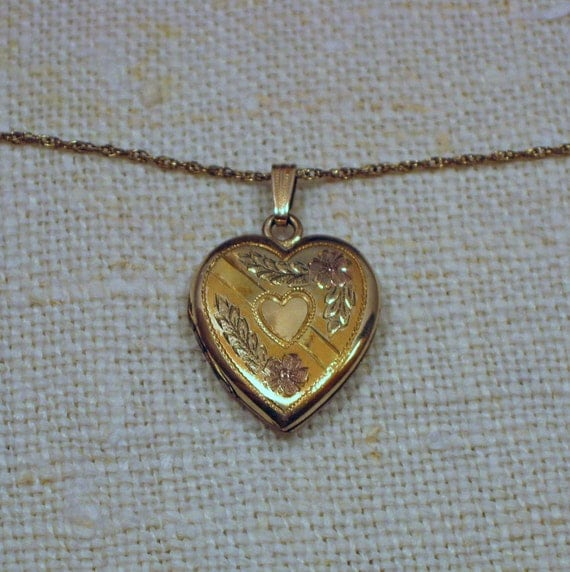 Vintage Heart Within a  Heart Locket Gold Filled