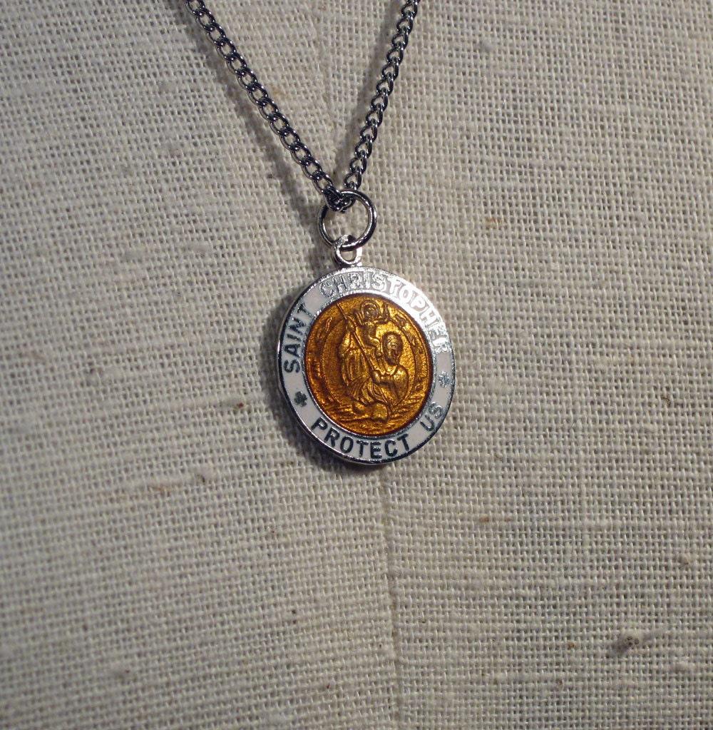 vintage st christopher necklace pendant medal 1960s new