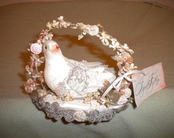 x Designer lovebird with vintage beading and velvet flowers (FF426)