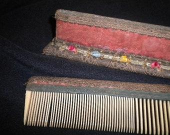 x Victorian Ribbonwork Comb in Dresser Stand (FF421)