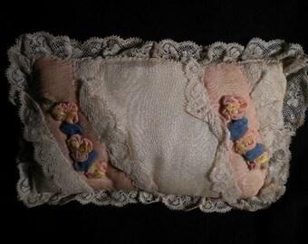 x Precious Antique Ribbonwork Pillow (FFs1204)