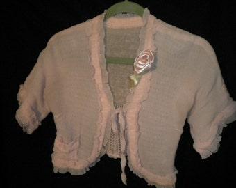 Soft Ruffled Pink Short Sleeve Jacket with Ribbon Rose (FFS1127)
