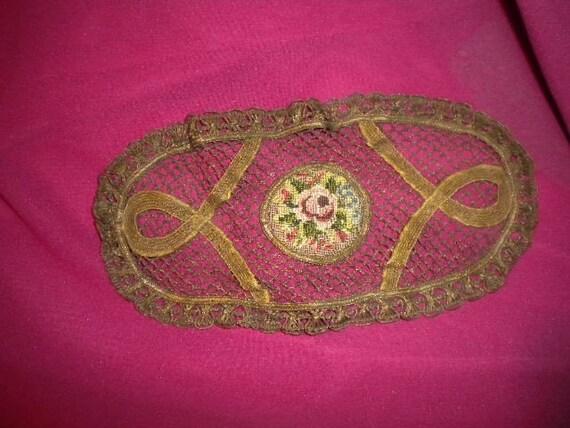 x Metallic Lace Bullion Antique Doily with Petit Point Rose (FF134)