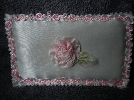 x Beautiful ribbonwork mini pillow with ribbonwork ROSE (FF124)