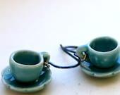Tea Cup Earrings -Blue Niobium