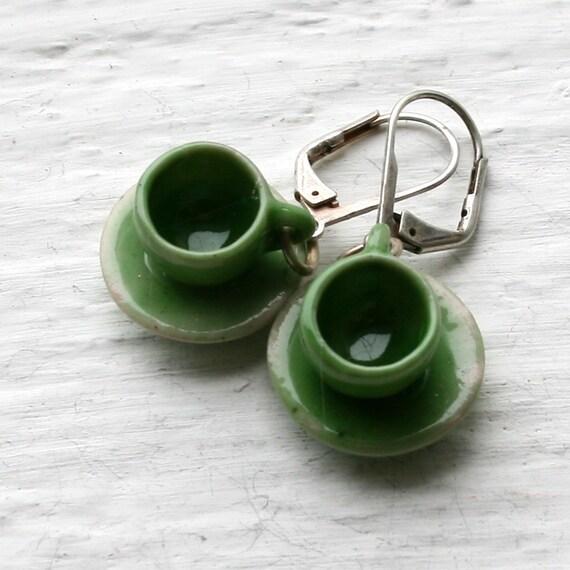 Tea Cup Earrings - Green