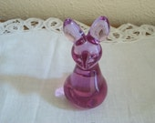 Purple or Lavender  Glass Bunny Rabbit